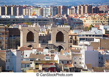 Valencia aerial skyline from el Miguelete Torres de Quart