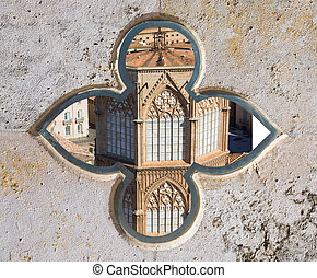 Valencia aerial skyline from el Miguelete cathedral tower at...
