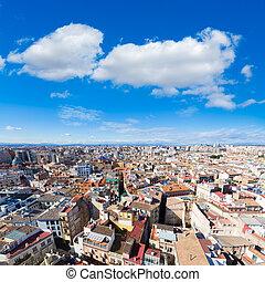 Valencia aerial skyline from el Miguelete tower Spain