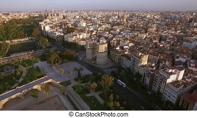 Valencia aerial view with Serranos Towers, Spain - Aerial...