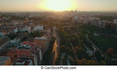 Valencia at sunset, aerial view