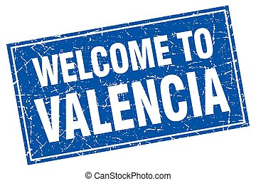 Valencia blue square grunge welcome to stamp
