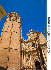 Valencia Cathedral facade and Miguelete Micalet in Plaza de...