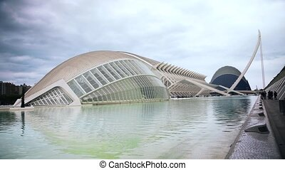 Valencia City of Arts and Sciences on a cloudy day