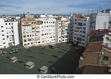 Valencia city roof top view in Spain.