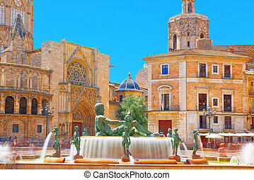 Valencia Fountain Rio Turia on Square of the Virgin Saint...