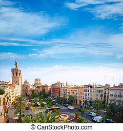 Valencia historic downtown El Miguelete and Cathedral...