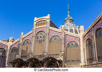 Valencia Mercado Central market facade Spain - Valencia ...