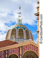 Valencia Mercado Central market outdoor dome Spain -...
