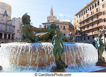Valencia Neptuno fountain in Plaza de la virgen square Spain...