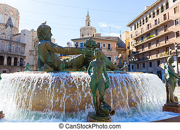 Valencia Neptuno fountain in Plaza de la virgen square Spain...