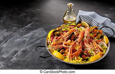 Valencia paella with seafood and shellfish