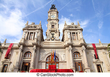Valencia, Spain. Old architecture - famous town hall.