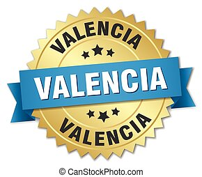 Valencia round golden badge with blue ribbon