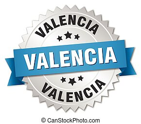 Valencia round silver badge with blue ribbon
