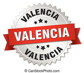 Valencia round silver badge with red ribbon - Valencia round...