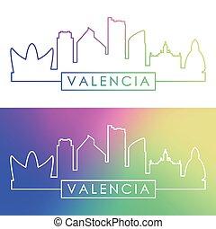 valencia, skyline., barwny, linearny, style.