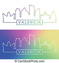 Valencia skyline. Colorful linear style.