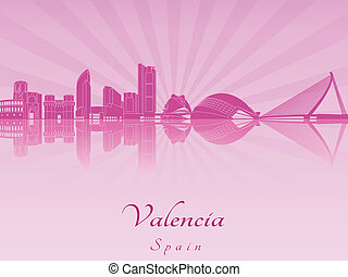 Valencia skyline in purple radiant orchid in editable vector...
