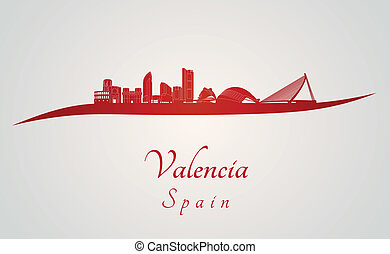 Valencia skyline in red and gray background in editable...