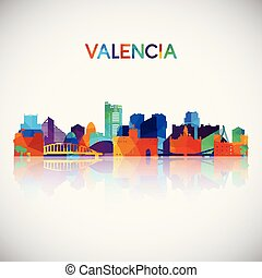 Valencia skyline silhouette in colorful geometric style....