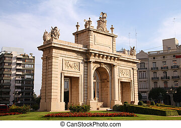 Valencia, Spain. Arch of Triumph, old monument.