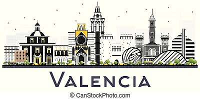 Valencia Spain City Skyline with Color Buildings Isolated on...
