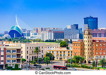 Valencia Spain Skyline - Valencia, Spain city skyline.