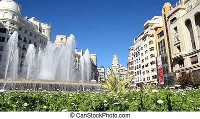 valencia, szökőkút, spanyolország