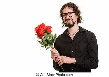 valenti, mooi, rozen, vasthouden, gereed, vrolijke , kaukasisch, rood, man