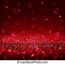 valentijn, achtergrond, met, hartjes