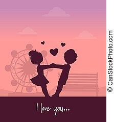 valentijn, achtergrond, vrolijke , vector, vasthouden, liefde, park, geitjes, meisje, tussen, dag, ondergaande zon , handen, illustratie, jongen, vriendschap, vermaak