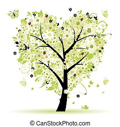 valentijn, boompje, liefde, blad, van, hartjes