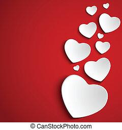 valentijn, dag, hart, op, rode achtergrond