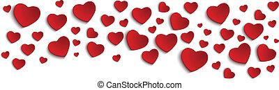 valentijn, dag, hart, op wit, achtergrond