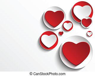 valentijn, dag, hart, op wit, knoop