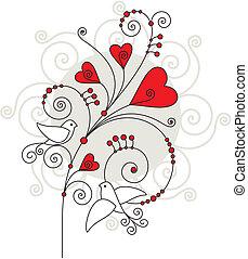 valentijn, dag, kaart, groet