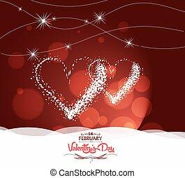valentijn, dag, met, hart, licht