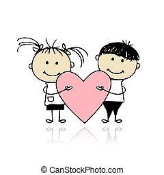 valentijn, day., kinderen, met, groot, rood hart, voor,...