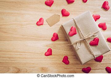 valentijn, doosje, space., hart, bruine , aanzicht, cadeau, hout, dag, kopie, bovenzijde, rode achtergrond