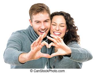 valentijn, paar, vrijstaand, op wit, achtergrond