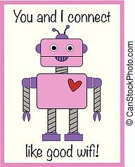 valentijn, robot, kaart, groet