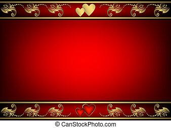valentijn, rode achtergrond, met, hartjes