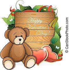 valentijn, teddy beer, met, hartjes, en, gebladerte