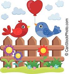 valentijn, vogels, op, omheining, thema, 2