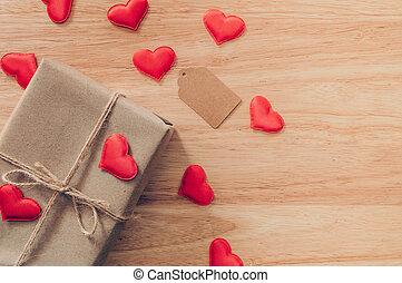 valentijnshart, achtergrond, bruine , bovenzijde, space., aanzicht, rood, cadeau, dag, doosje, hout, kopie