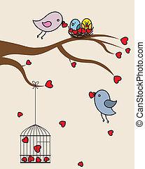 valentin., amor, san, cartão, pássaros