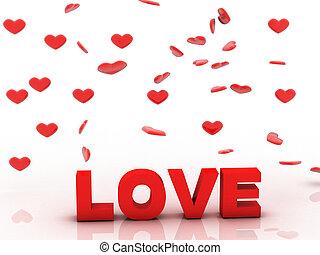 valentin, amour, 3d, fond, à, coeur rouge