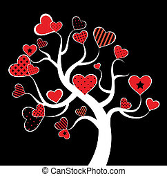 valentin, amour, feuille arbre, depuis, coeur
