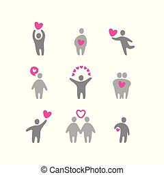 valentin, amour, icônes